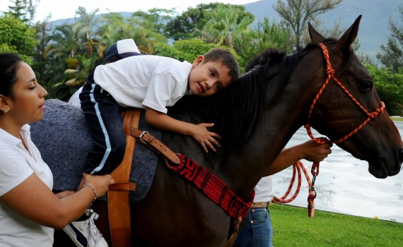 """50725183. Chilpancingo.- Para dar a conocer los servicios que brindan a la población con alguna discapacidad motriz o intelectual, el Centro de Equinoterapia """"Pasos de esperanza"""" realizó una demostración de ejercicios en los que usan caballos para mejorar las condiciones de dichas personas. NOTIMEX/FOTO/ESPECIAL/COR/HTH/"""